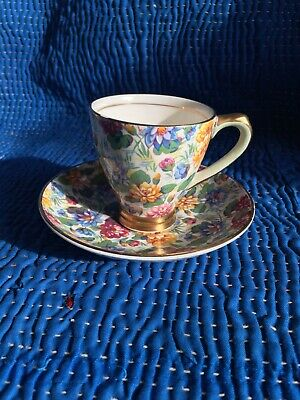Vintage Empire Ware England B Chintz Water Lily Small Cabinet Teacup & Saucer • 7.70£