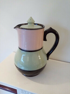 Art Deco 1940's Sadler 'Brown Betty' 4 Cup Coffee Pot In Brown/Green/Pink • 6.99£