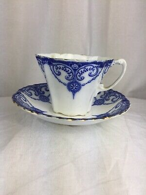 Antique Blue And White Foley China Pottery Cup And Saucer • 15£