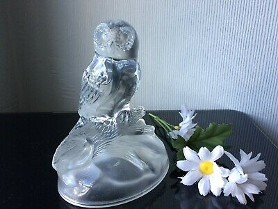 CRISTAL D'ARQUES Glass Paperweight Owl Figurine Clear Ornament & Frosted Base  • 8£