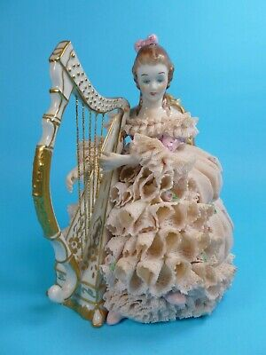 Large Muller Volkstedt Irish Dresden Lace Figure Sinead Playing A Harp  • 0.99£