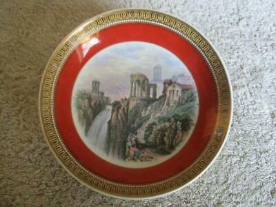 Prattware Red Ground Saucer - The Ruined Temple - Excellent Example • 5.99£