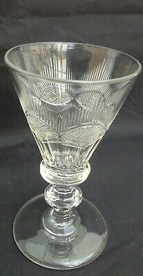 Georgian Circa 1820 Finely Cut Wine Glass, Funnel Shaped Bowl,pontil • 16.99£