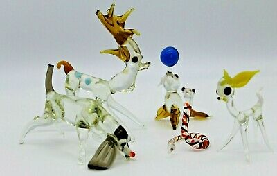 Murano Vintage Glass Animals X 5 Include Seal/Deer/Snake/Hound/Stag Damaged • 1.20£