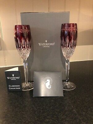 Genuine Waterford Crystal , Clarendon Ruby Red Champagne Flutes Set Of 2 • 129.99£
