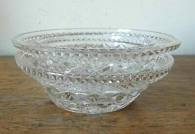SUPERB VINTAGE STACKING PAIR Of HOBNAIL HAND CUT CRYSTAL GLASS BOWLS Or DISHES • 1£