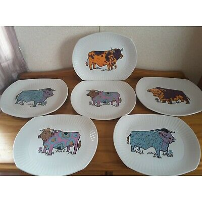 Beefeater English Ironstone Steak Grill Plates X 6  Vintage Pottery • 50£