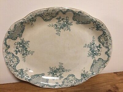Large Antique White And Teal Meat Plate Server Centrepiece Gilded • 5£