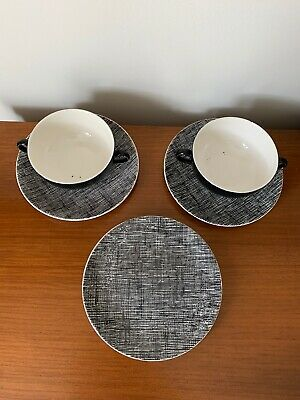 Vintage Mid Century George Clews & Co Plates And Soup Mugs • 30£