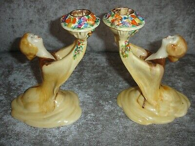 Clarice Cliff Bizarre  My Garden  Figural Lady Candle Holders.art Deco. • 74.99£