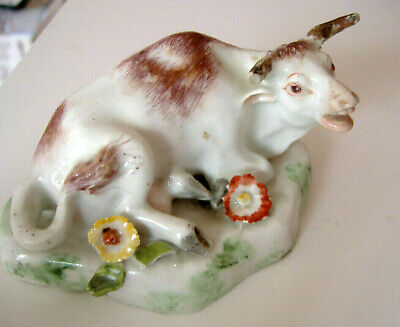 Antique C19th Staffordshire Seated Cow Figurine, Quite A Rare Model, Some Faults • 55£