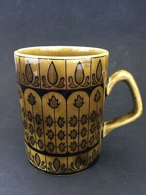 Vintage Retro Arklow Giftware Ireland Ms Donagh London Pattern Painted Mug Cup • 7£