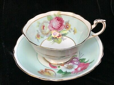 Paragon Cup & Saucer G 6729/1 Flowers The Queen & Queen Mary • 21£