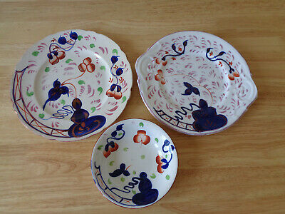 Allertons Antique Gaudy Welsh Oyster Pattern Plates And Bowl • 2£