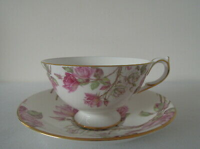 Vintage Aynsley Cup And Saucer Pink And White Roses Gold Gilded • 12£