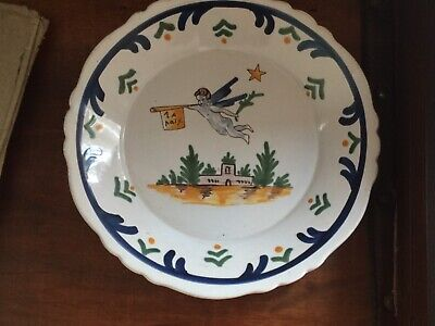 Vintage French Faience Style  - Folk Art Hand Painted. Plate  • 5£