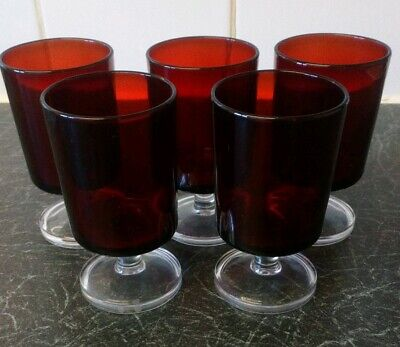 5 Vintage Ruby Red Glasses Clear Glass Footed Stamped France • 25£