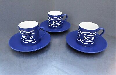 Hornsea ' Oceana ' 3 X Espresso Cups And Saucers In Fine Condition. • 6.99£