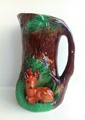 Vintage Eastgate Withersnea Pottery Jug Vase Fauna Tree Brown Green Decor Kitsch • 14.90£