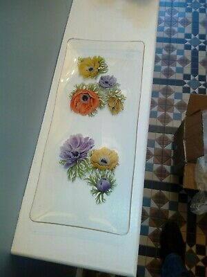Set Of Vintage Chance Glass Poppy Plate • 18£