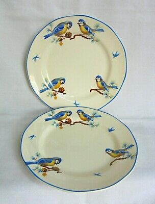 IVORY WARE Antique Set Of 2 BLUEBIRD Plates. MINT CONDITION. VERY RARE DESIGN !! • 5.99£