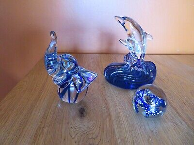 A Collection Of Glass Ornaments - Dolphin, Elephant And Round Paperweight • 8£