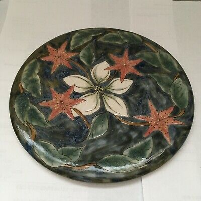 Pretty Cobridge Stoneware Trial Tile/plate, White & Red Flowers. Dated. Labeled. • 30£