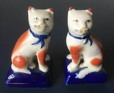 Staffordshire Pottery Pair Of Seated Cats With Ribbon Collars • 7.50£