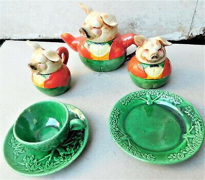 NO RESV C1930 3 Little Pigs Japanese Marutomo Ware Childrens Tea Set Tea For One • 6.65£