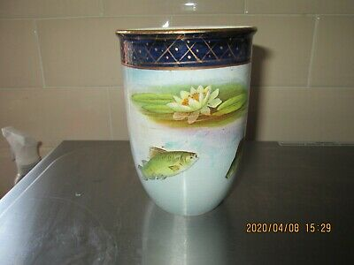 Antique Pottery Vase Fish Carp Swimming Under Lily Pads • 9.99£
