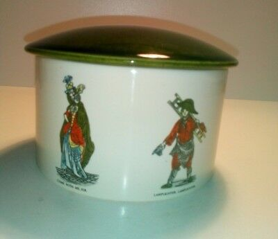 Vintage Holkham Pottery Green Lidded Trinket Box,  Jar/ Jam Pot, Street Sellers • 7£