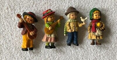 4 Vintage Pottery Or Hard Plastic Boy And Girl Figurines • 3£