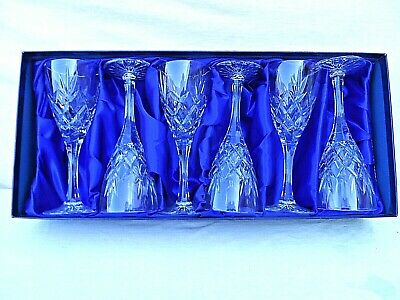 BOXED SET OF 6 ROYAL DOULTON St ANDREWS CICANT LEAD CRYSTAL STEMMED WINE GLASSES • 49.99£