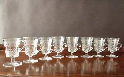 8 Antique Lady Hamilton Pall Mall Jelly Or Tod Glasses, Cup On Foot H8,5cm • 55£