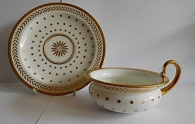 Early 19th Century Sevres Empire Shape Cup And Saucer With Gilt Polka Dot Decor • 325£
