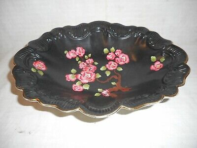 Antique Carltonware Black Dish With Pink Cherry Blossom Decoration • 20£