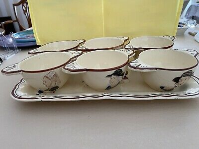 Faience French Vintage Porringers Bowls & Tray Handpainted Ty Breiz Set Of 6 • 95£