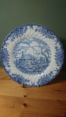 Vintage Myott Blue & White Pottery Plate The Brook Tennyson Quote Wave Effect  • 9.99£
