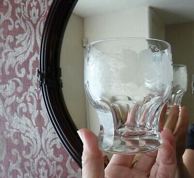 5 Antique Etched Whisky Glasses, Thumb Cut Base, GLASS, 1920's • 67£