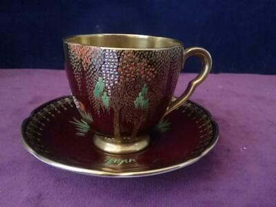 Carlton Ware New Storks Pattern Cabinet Cup & Saucer  On Rouge Royale Ground • 47.49£