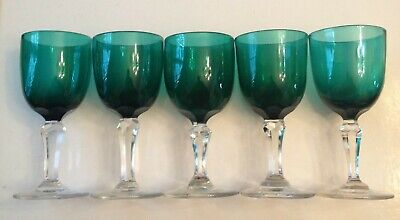 5 Bristol Green Drinking Glasses (NOT A SET) Clear Stems - All Good • 30£