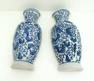 Pair Of Blue & White Porcelain Floral Wall Pockets / Planter Vases  Aa1 • 15.88£