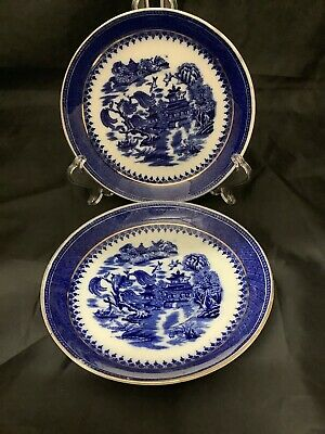 Two Vintage Foley Blue Willow Coffee Saucers Pattern No 185 • 4£