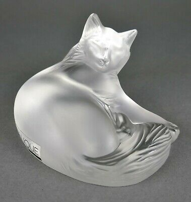 Fine Vtg French Lalique Crystal Recumbent Tabby House Kitty Cat Sculpture Statue • 28.70£