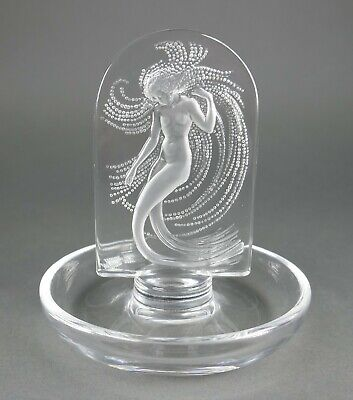 Fine Vtg French Lalique Crystal Art Deco Nude Water Nymph Wedding Ring Dish • 37.72£