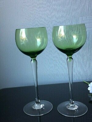 Tall Sherry Wine Port Glasses Set Of 2 Hock Green Balloons 150ml Cups Clear Stem • 7£