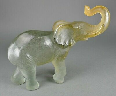 Fine French Daum Art Glass Pate De Verre Blue Crystal Elephant Sculpture • 188.59£