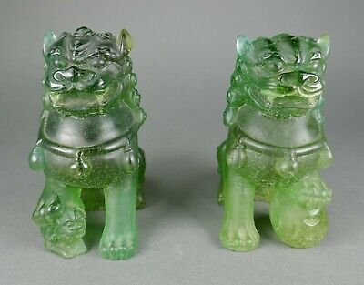 Fine French Daum Art Glass Pate De Verre Green Crystal Chinese Foo Dog Sculpture • 104.54£