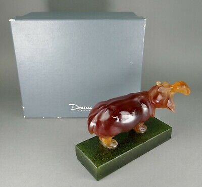 French Daum Art Glass Pate De Verre Amber Green Crystal Hippopotamus Sculpture • 36.90£