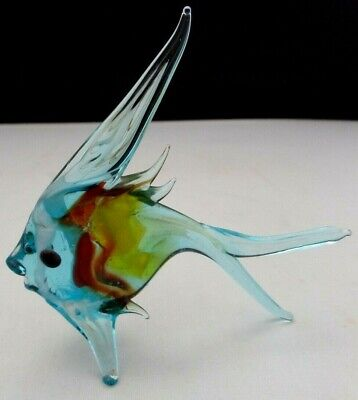 Murano Glass Fish.Pale Blue.Yellow.Red.3.25 Inches High. • 5£
